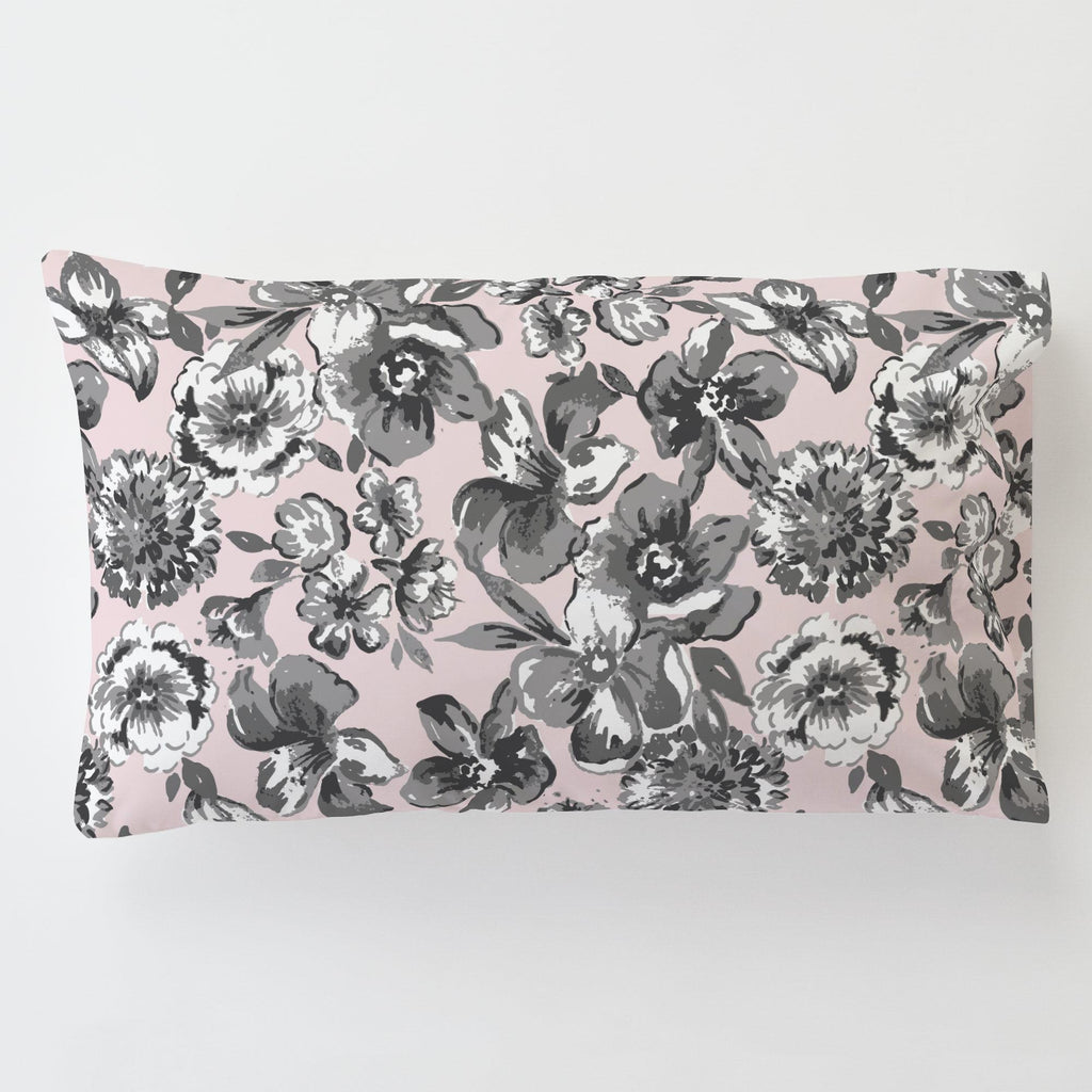 Product image for Pink and Gray Floral Toddler Pillow Case with Pillow Insert