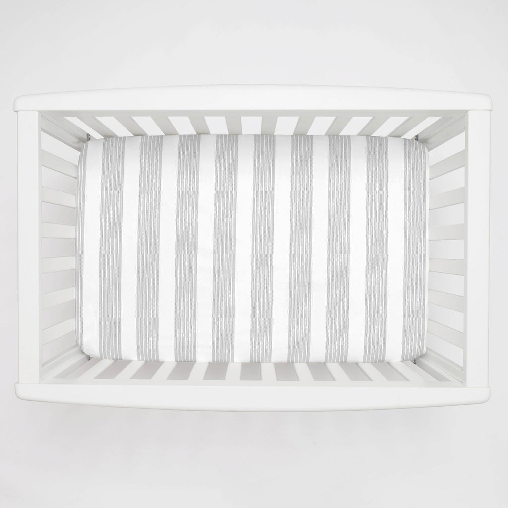 Product image for Silver Gray Seaside Stripe Mini Crib Sheet