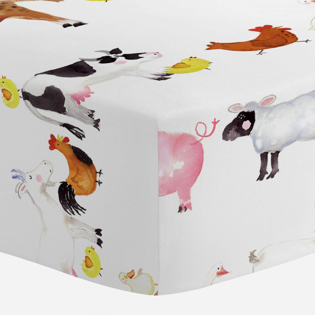 Product image for Painted Farm Animals Crib Sheet