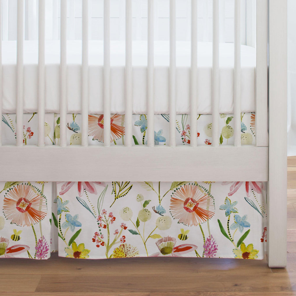 Product image for Watercolor Springtime Crib Skirt Single-Pleat