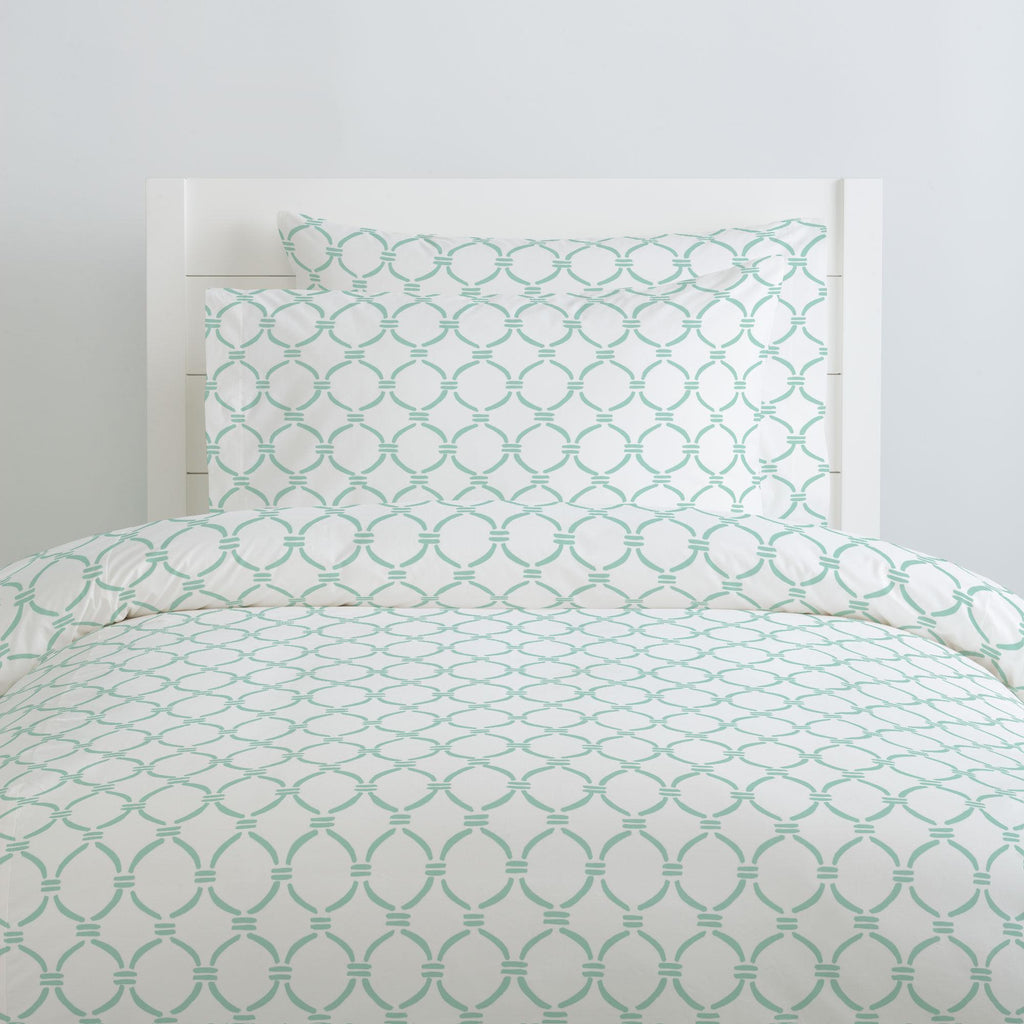 Product image for Mint Lattice Circles Duvet Cover