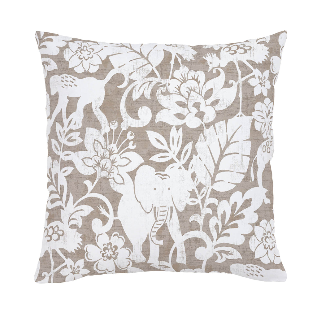Product image for Taupe and White Jungle Throw Pillow