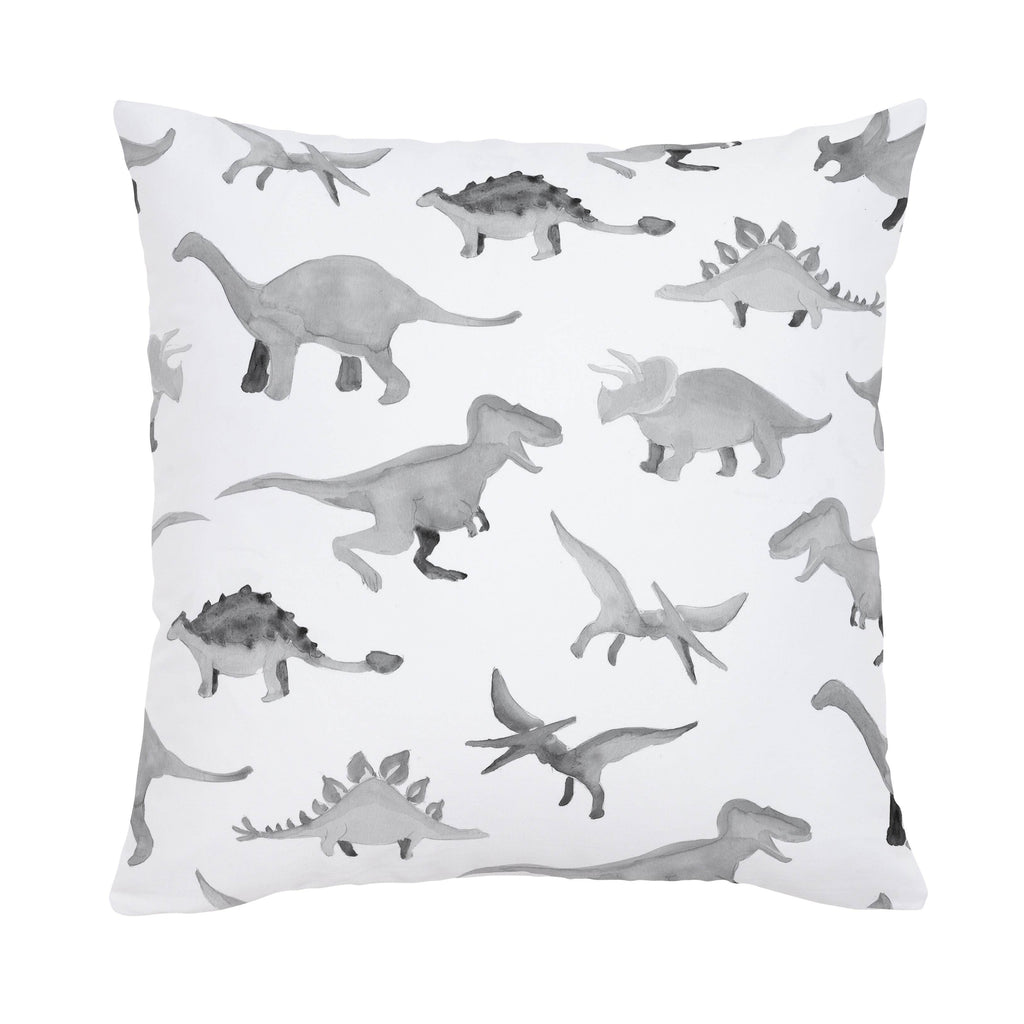 Product image for Gray Watercolor Dinosaurs Throw Pillow