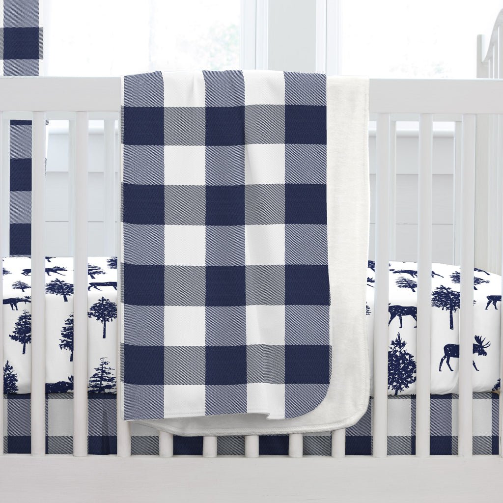 Product image for Navy and White Buffalo Check Baby Blanket