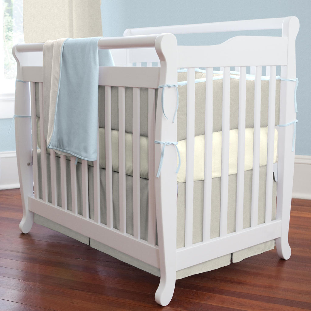 Product image for Light Blue and Flax Linen Mini Crib Bumper