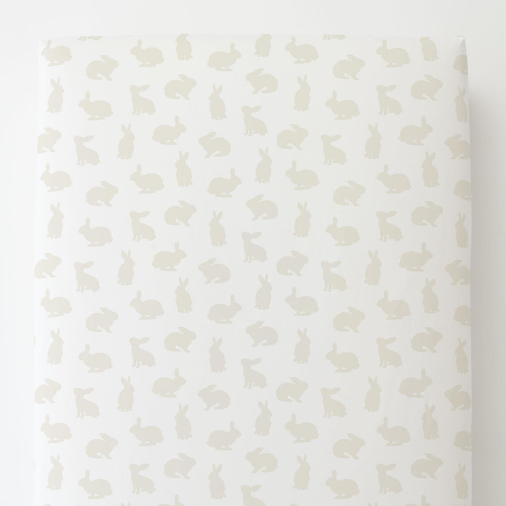 Product image for Ivory Bunnies Toddler Sheet Bottom Fitted