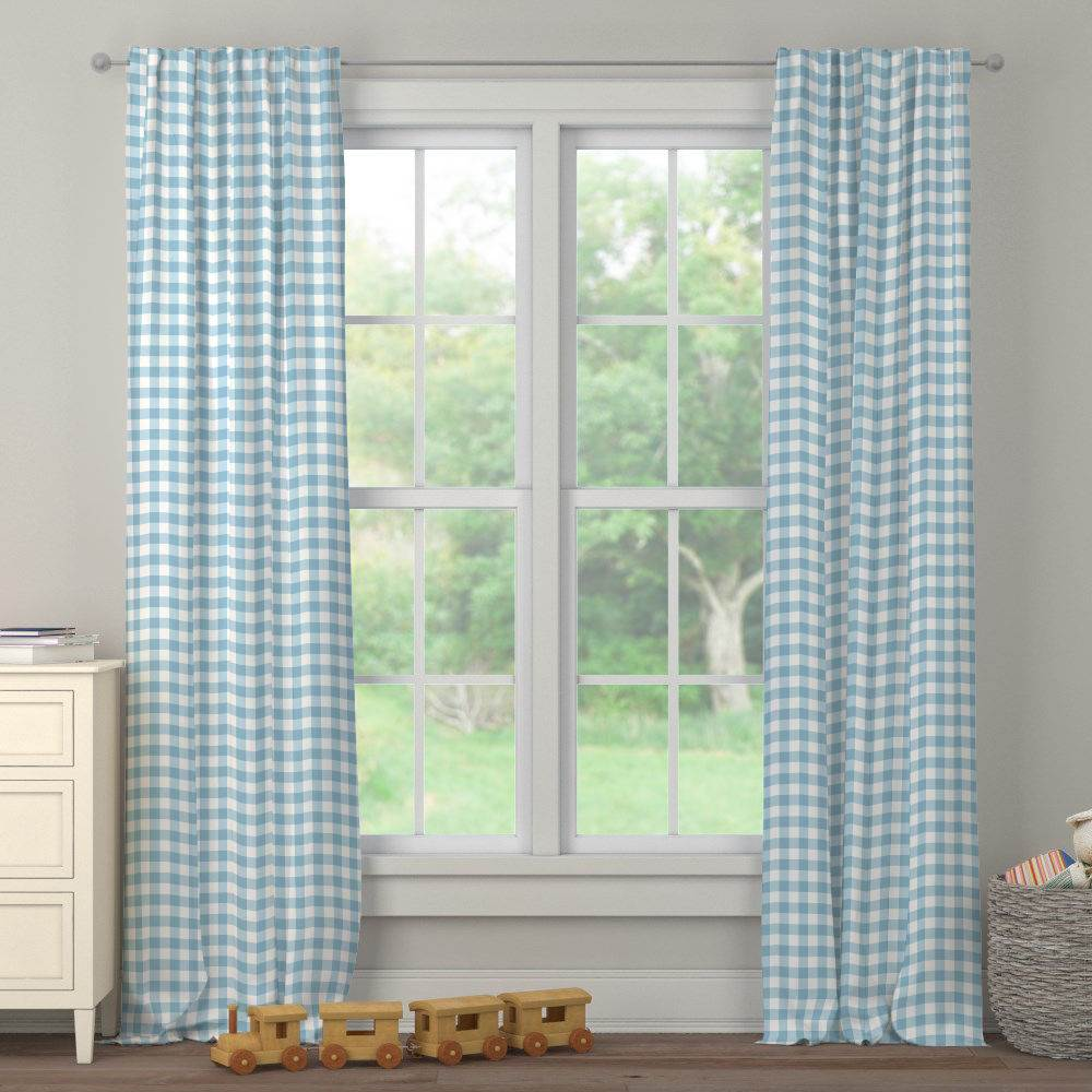 Product image for Lake Blue Gingham Drape Panel
