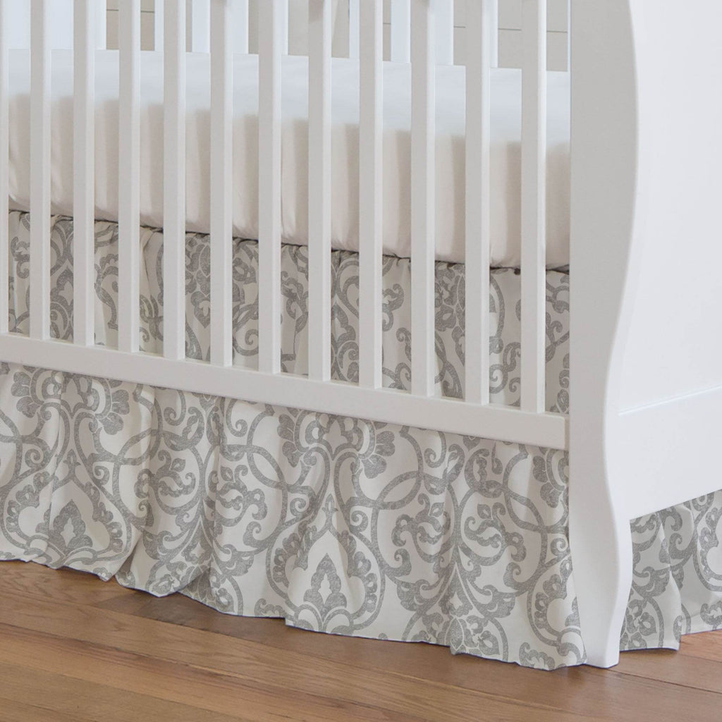 Product image for Gray Filigree Crib Skirt Gathered