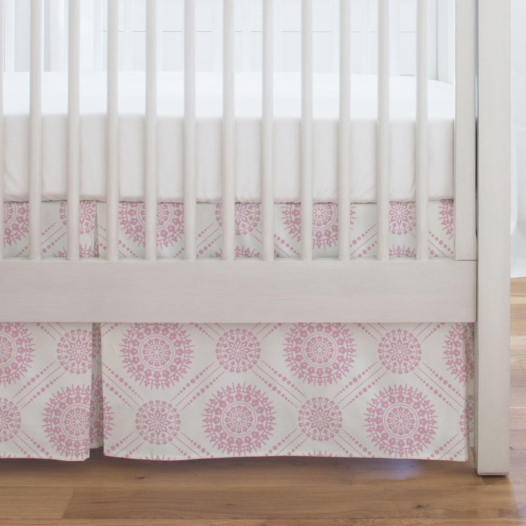 Product image for Bubblegum Pink Modern Medallion Crib Skirt Single-Pleat