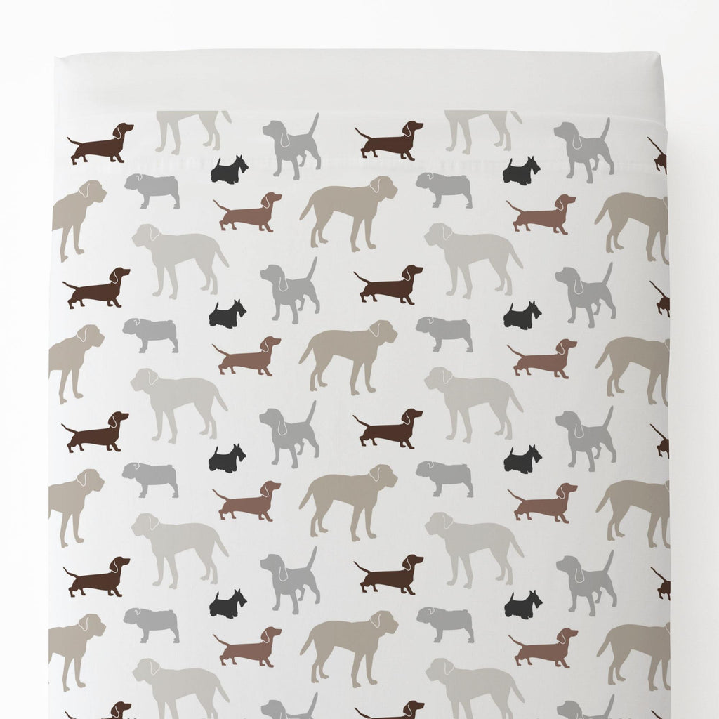 Product image for Brown and Gray Dogs Toddler Sheet Top Flat