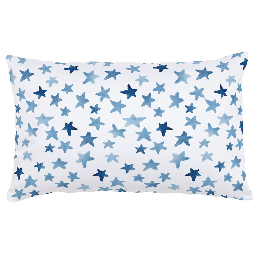 Product image for Blue Watercolor Stars Lumbar Pillow
