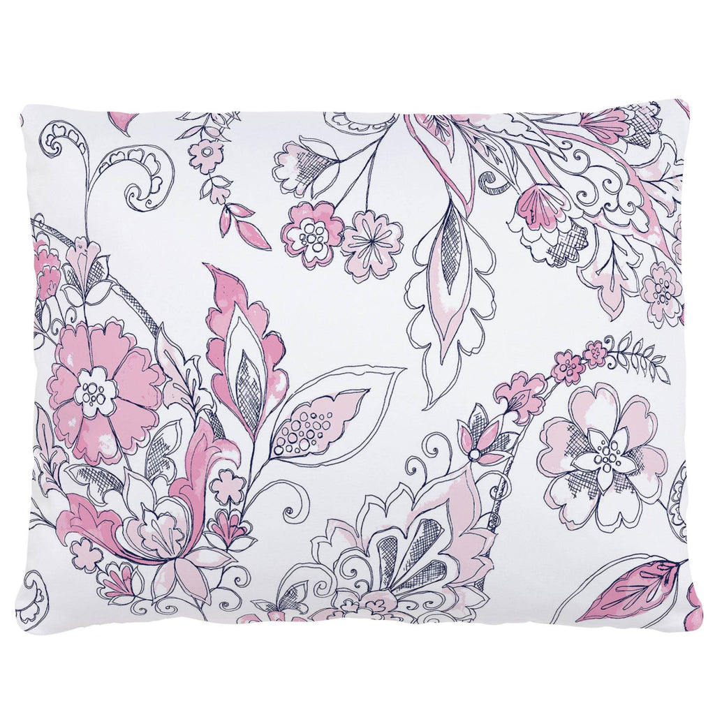 Product image for Pink and Navy Sketchbook Floral Accent Pillow