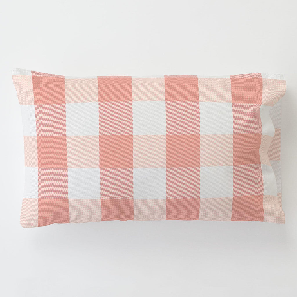 Product image for Light Coral and Peach Buffalo Check Toddler Pillow Case with Pillow Insert