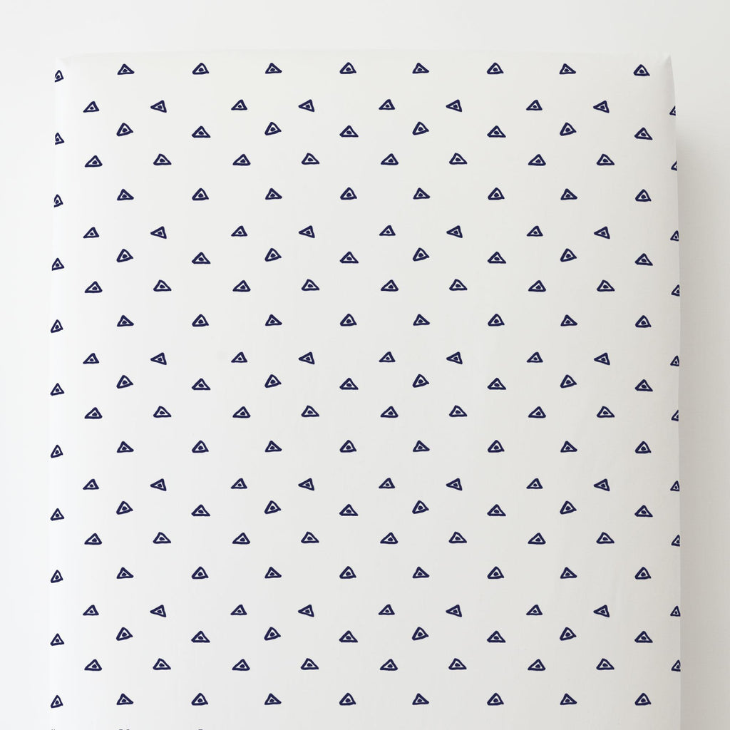 Product image for Navy Triangle Dots Toddler Sheet Bottom Fitted