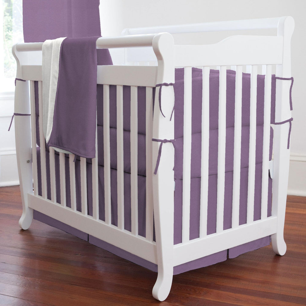 Product image for Solid Aubergine Purple Mini Crib Skirt