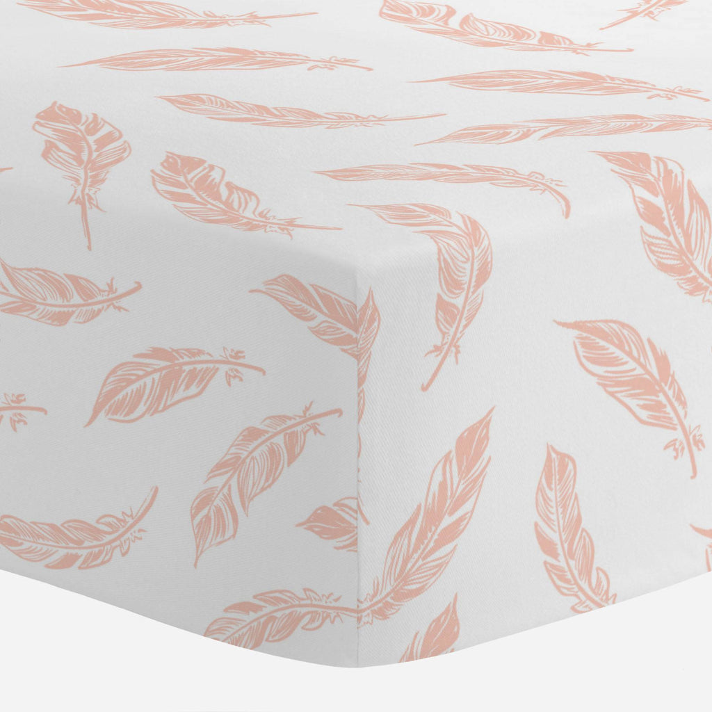 Product image for Peach Hand Drawn Feathers Crib Sheet
