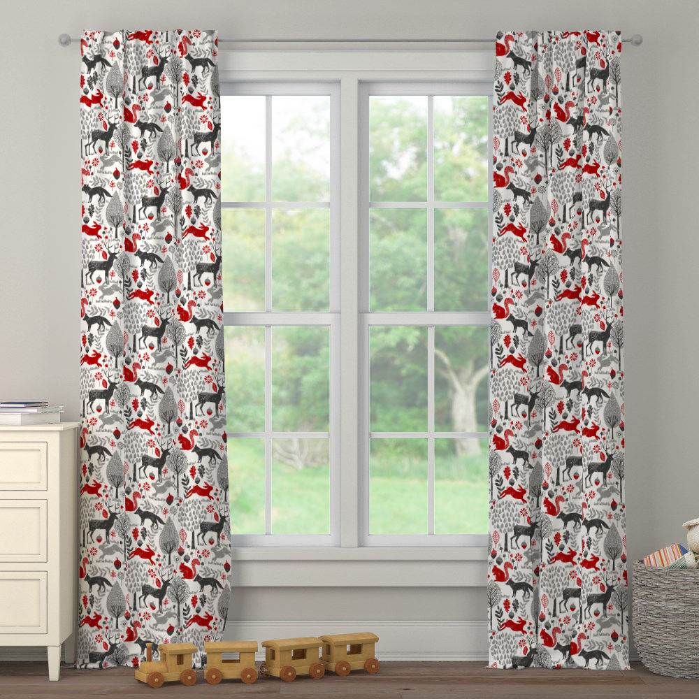 Product image for Red and Gray Woodland Animals Drape Panel