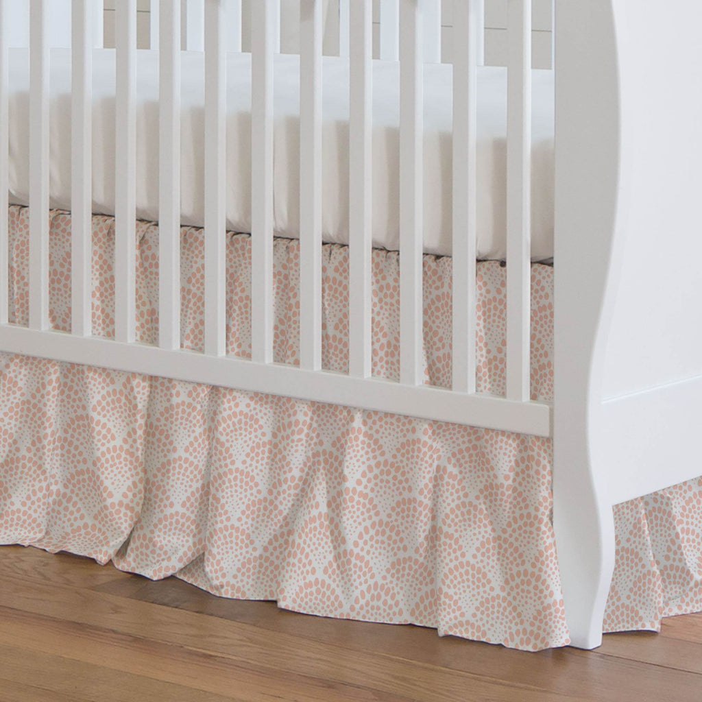 Product image for Peach Scallop Dot Crib Skirt Gathered