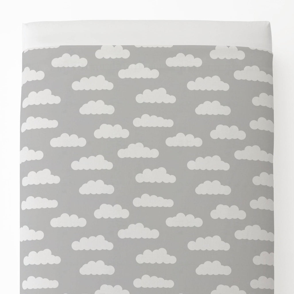 Product image for Silver Gray and White Clouds Toddler Sheet Top Flat