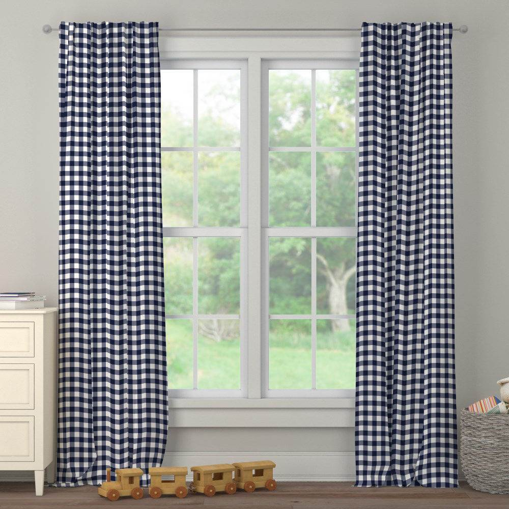 Product image for Windsor Navy Gingham Drape Panel