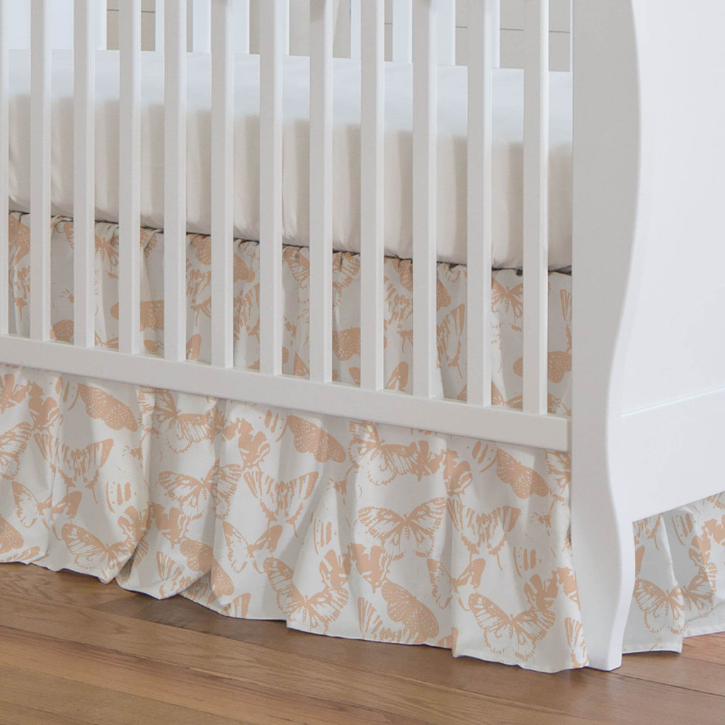 Product image for Peach Modern Butterflies Crib Skirt Gathered