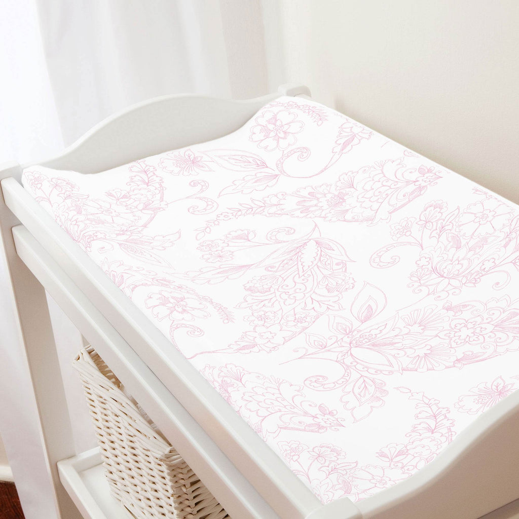Product image for Bubblegum Sketchbook Floral Changing Pad Cover