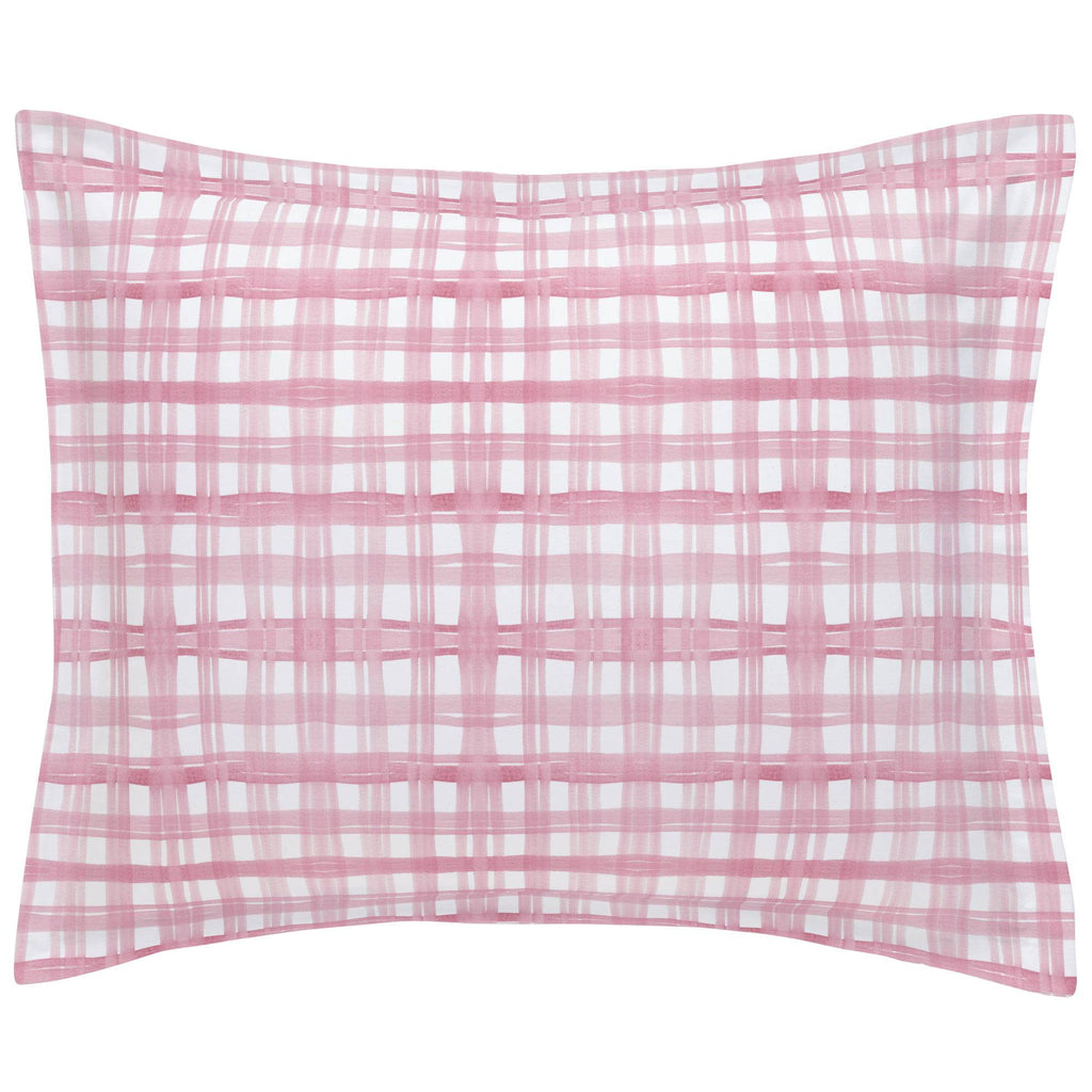 Product image for Pink Watercolor Plaid Pillow Sham