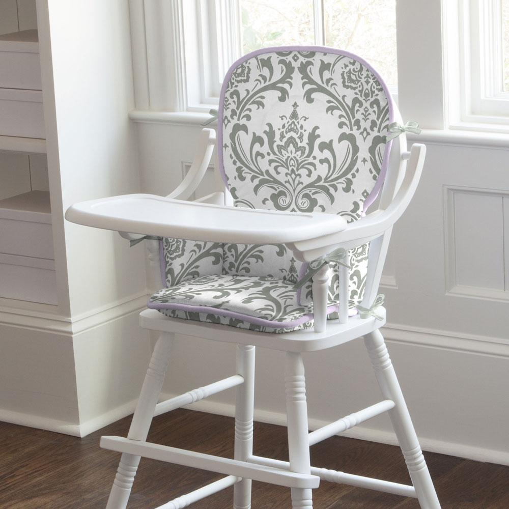Product image for Lilac and Gray Traditions Damask High Chair Pad