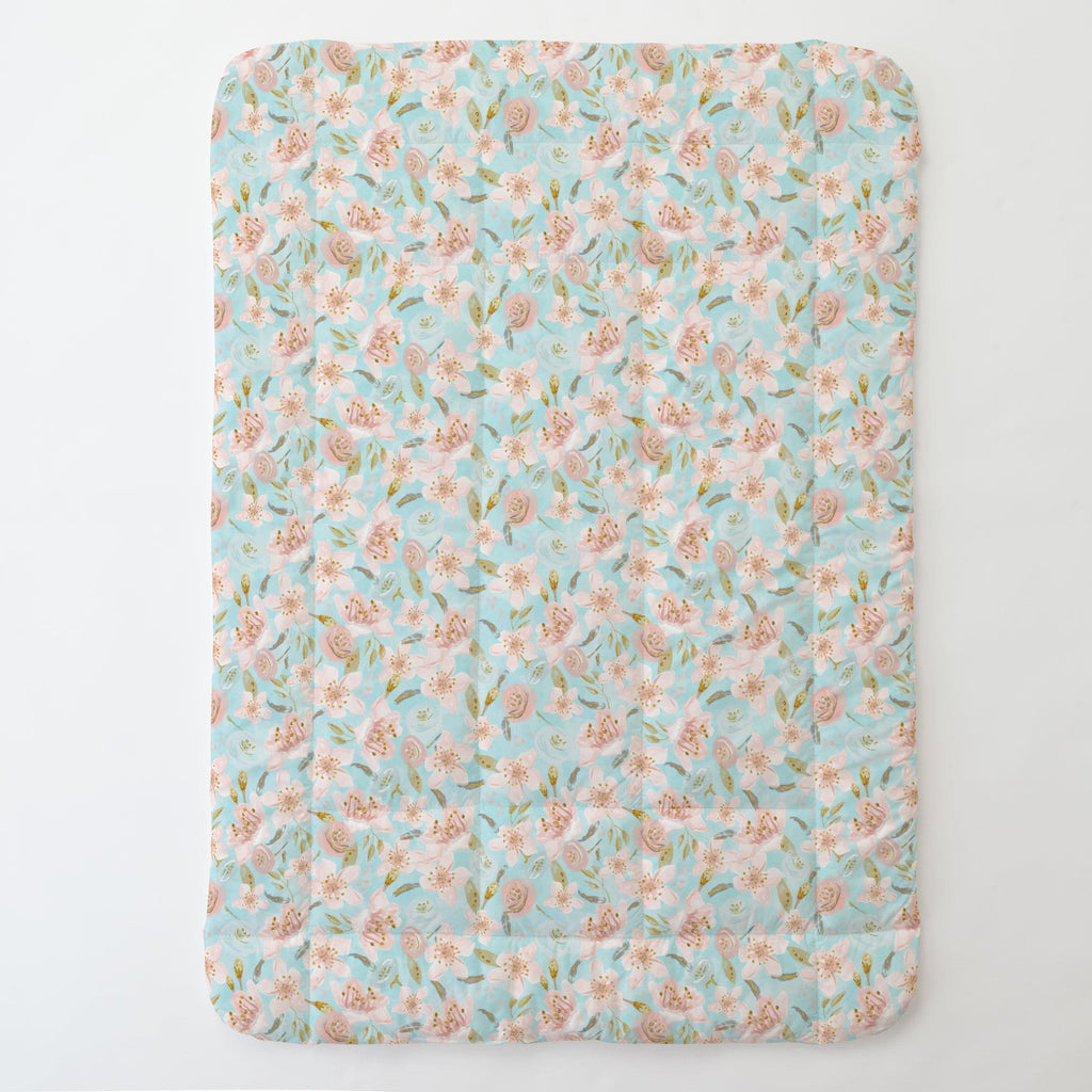 Product image for Aqua and Pink Hawaiian Floral Toddler Comforter