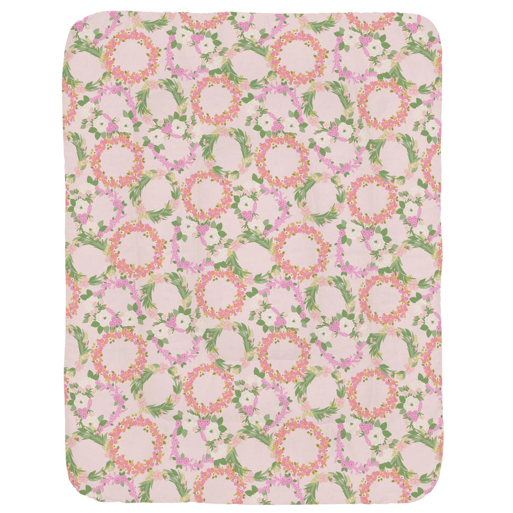 Product image for Pink and Coral Floral Wreath Crib Comforter