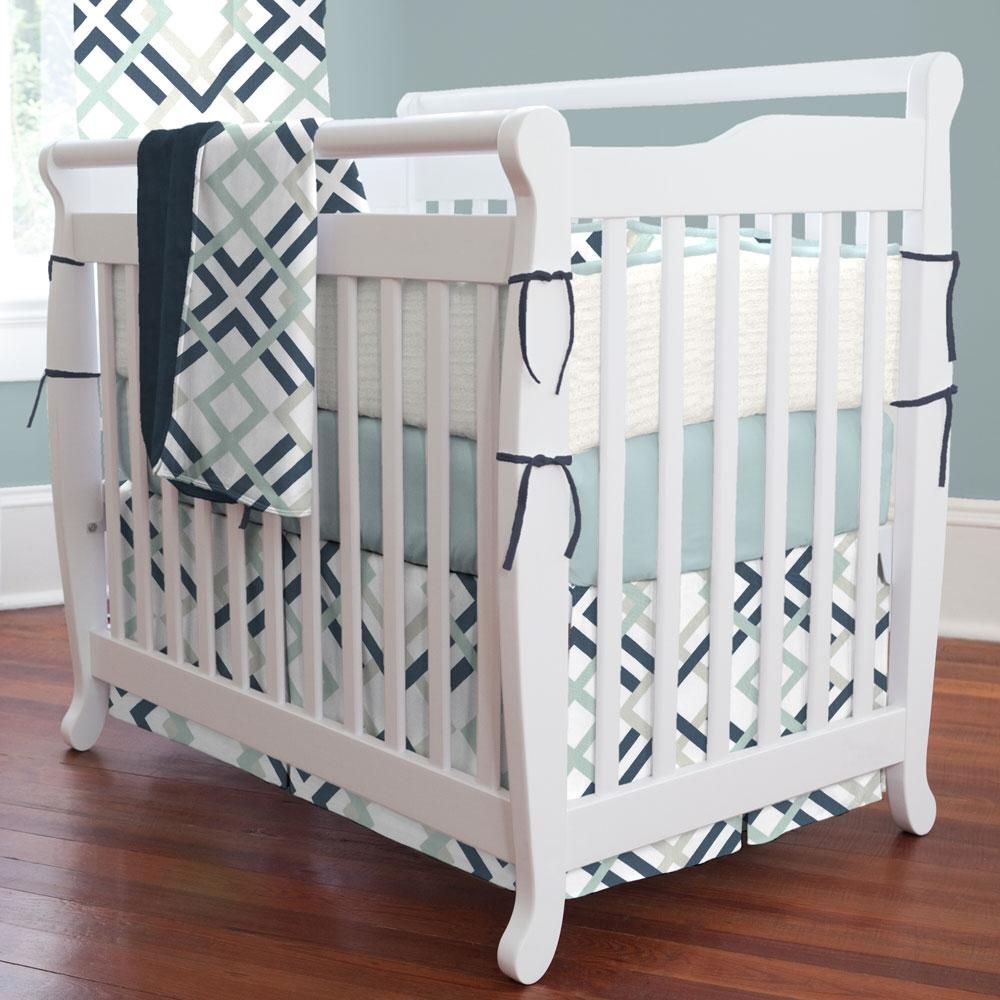Product image for Navy and Gray Geometric Mini Crib Skirt