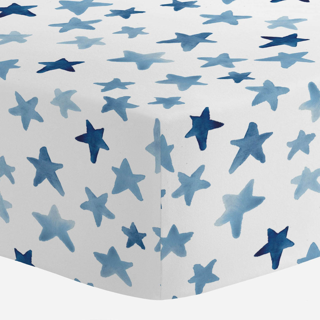 Product image for Blue Watercolor Stars Crib Sheet