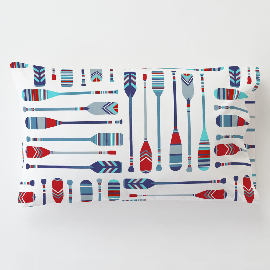 Product image for Red and Blue Oars Toddler Pillow Case with Pillow Insert