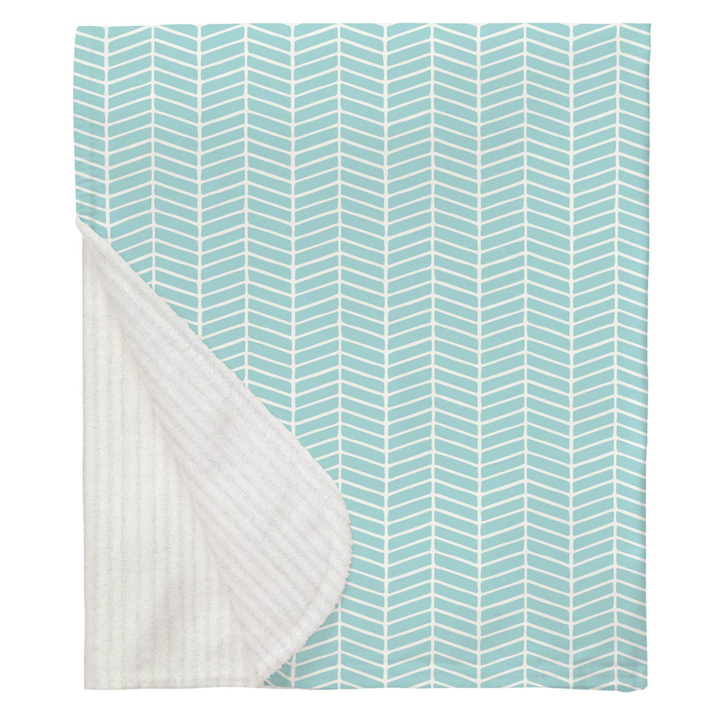 Product image for Seafoam Aqua Herringbone Baby Blanket
