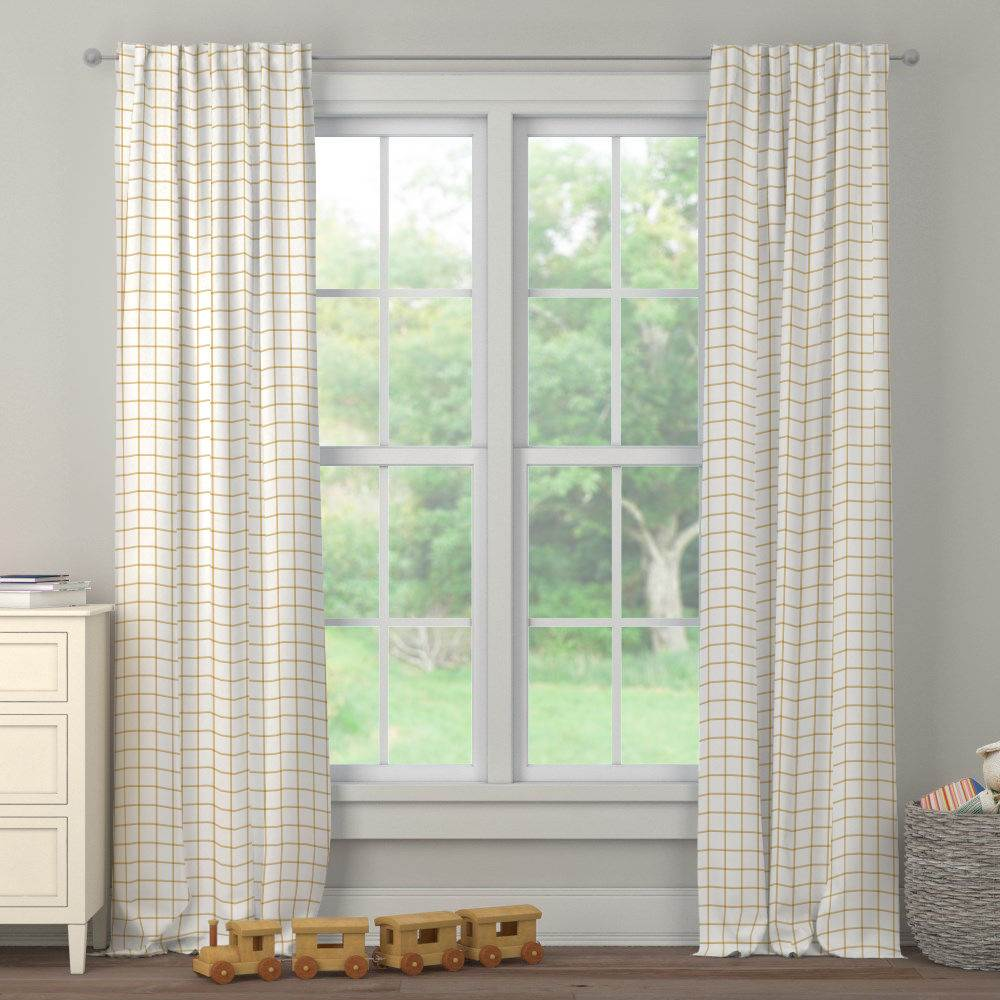 Product image for Mustard Windowpane Drape Panel
