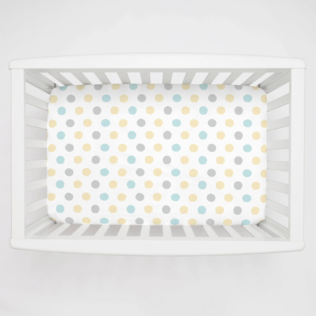 Product image for Mist and Gray Brush Dots Mini Crib Sheet
