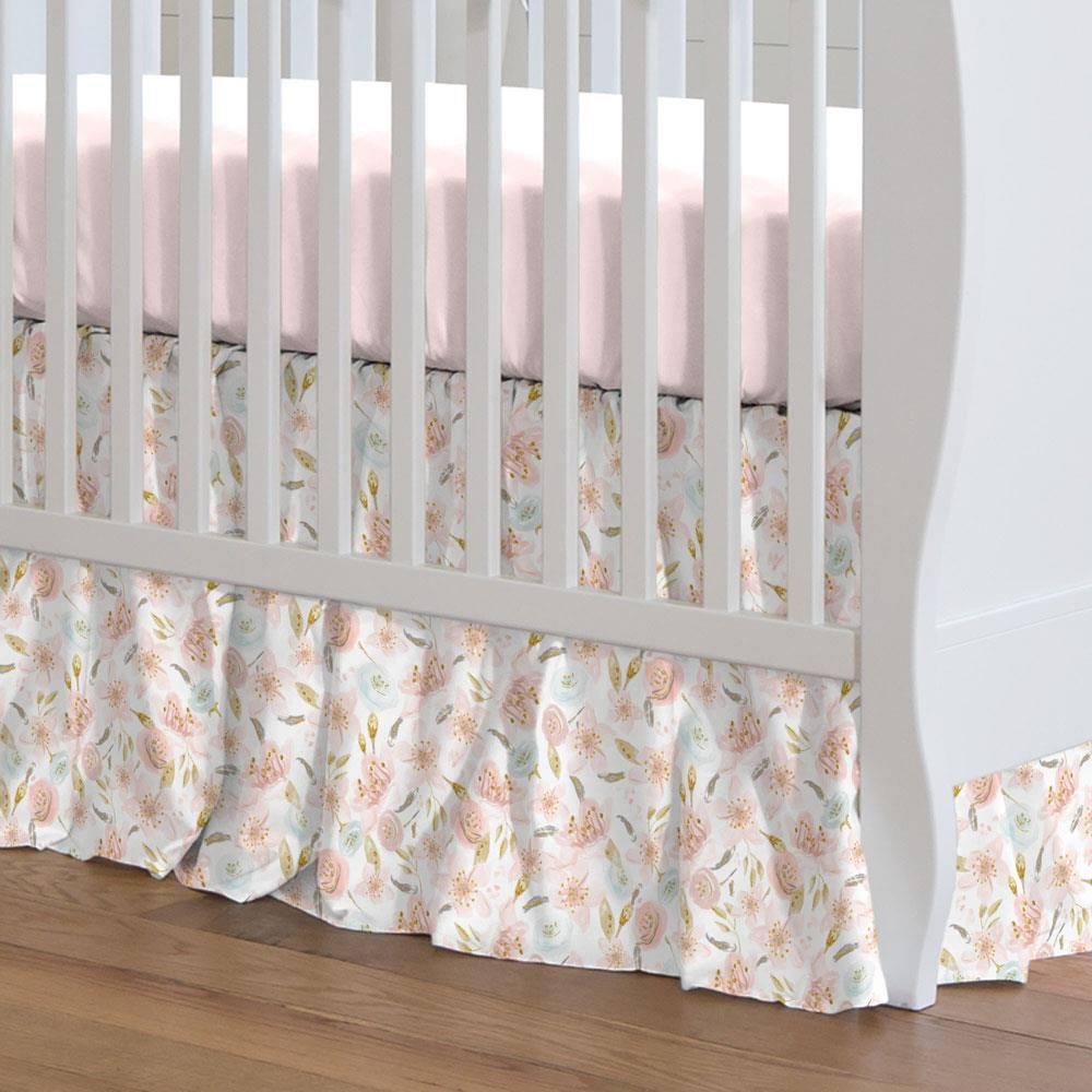 Product image for Pink Hawaiian Floral Crib Skirt Gathered