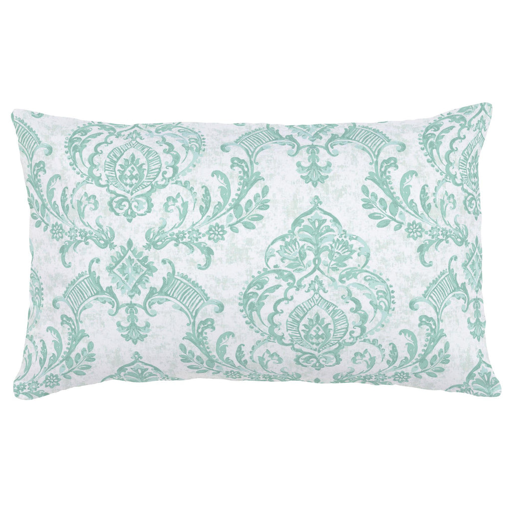 Product image for Mint Painted Damask Lumbar Pillow