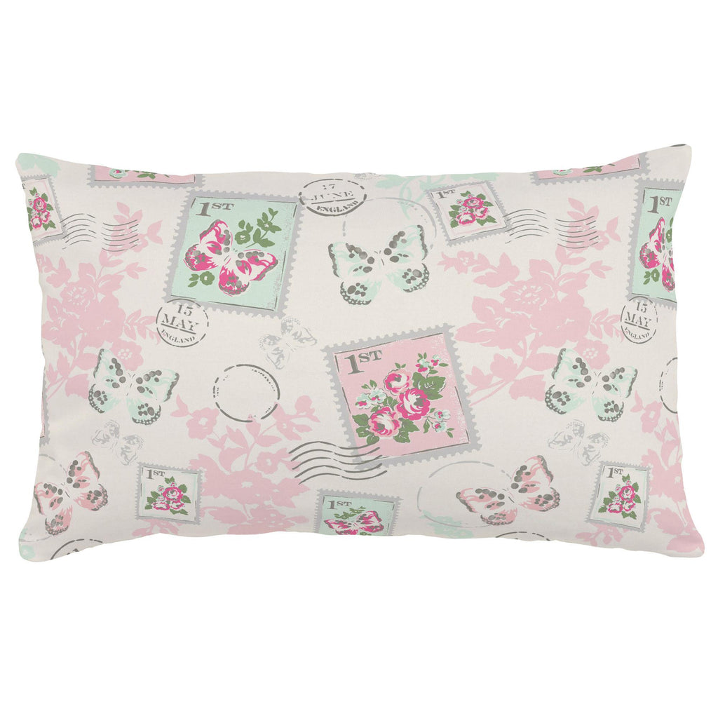 Product image for Blush and Ivory Vintage Stamp Lumbar Pillow