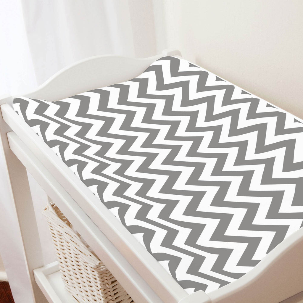 Product image for White and Gray Zig Zag Changing Pad Cover