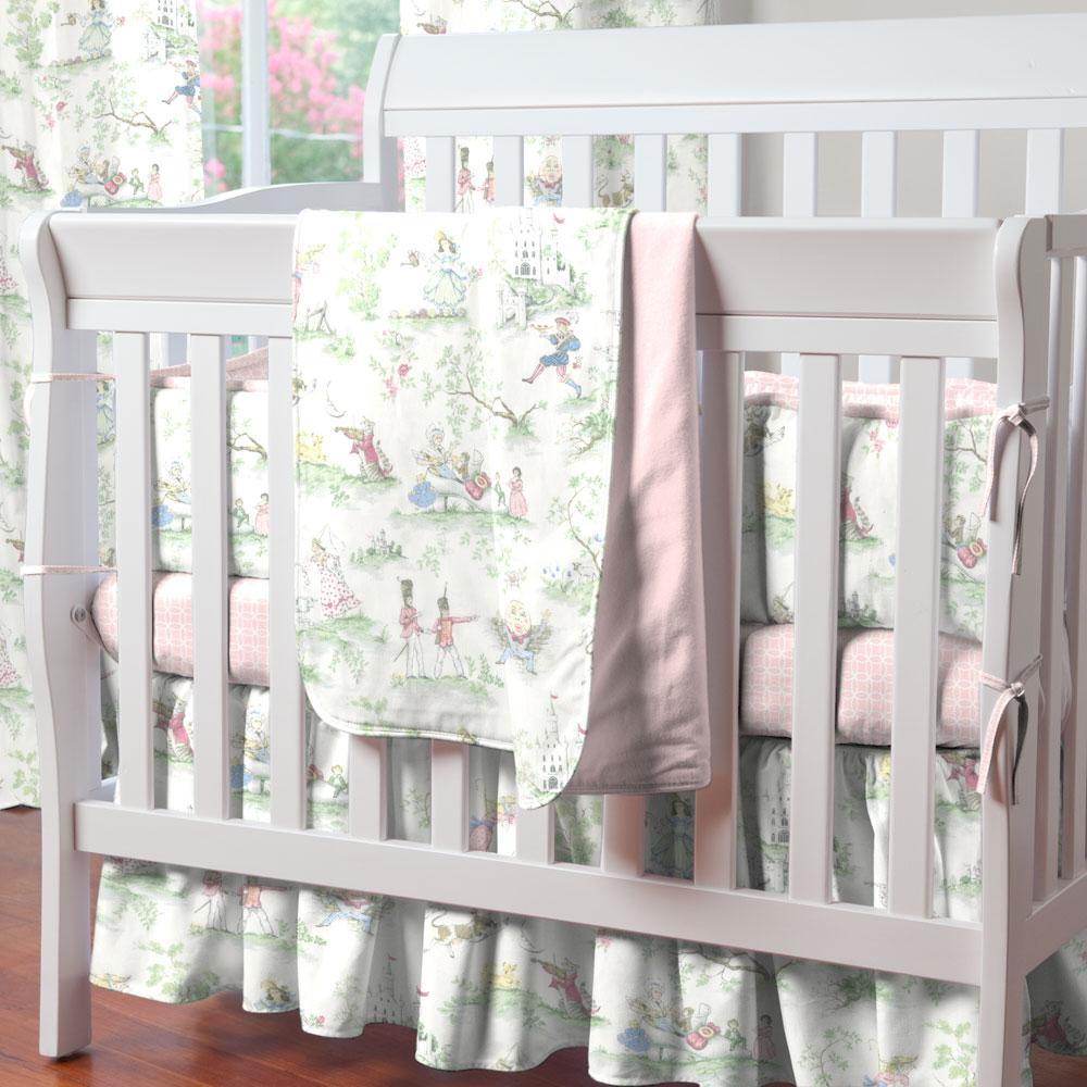 Product image for Pink and Nursery Rhyme Toile Mini Crib Bumper