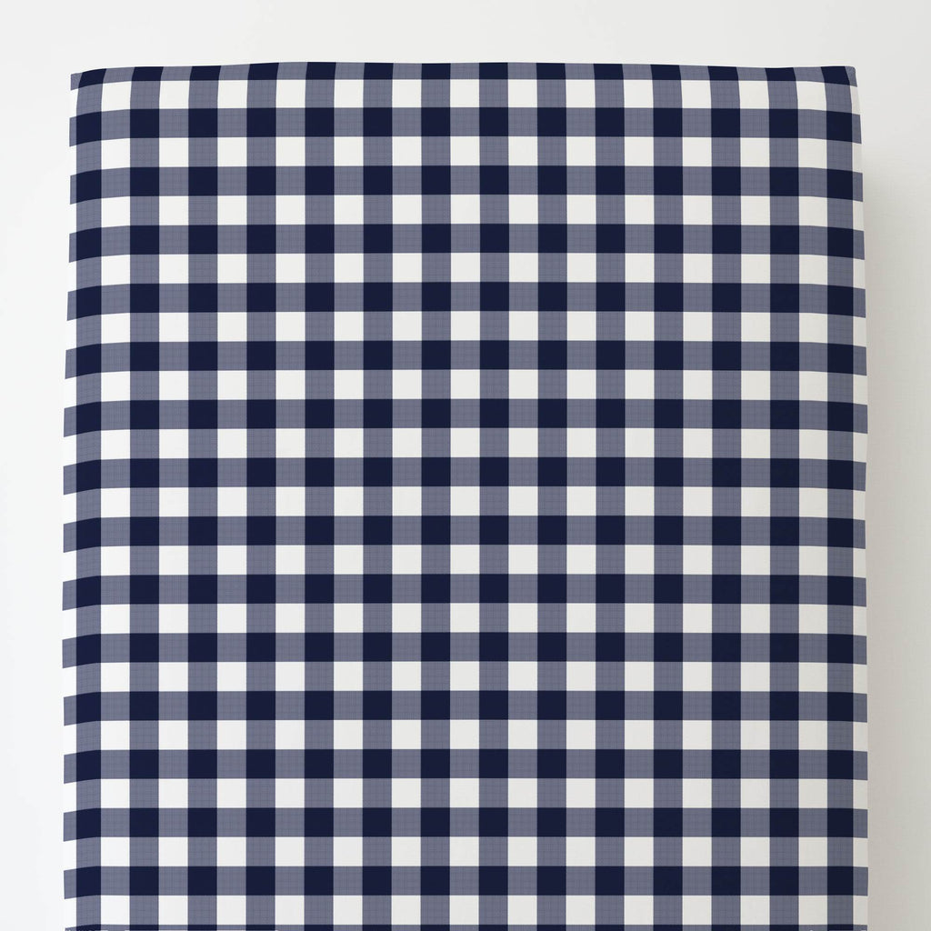 Product image for Windsor Navy Gingham Toddler Sheet Bottom Fitted
