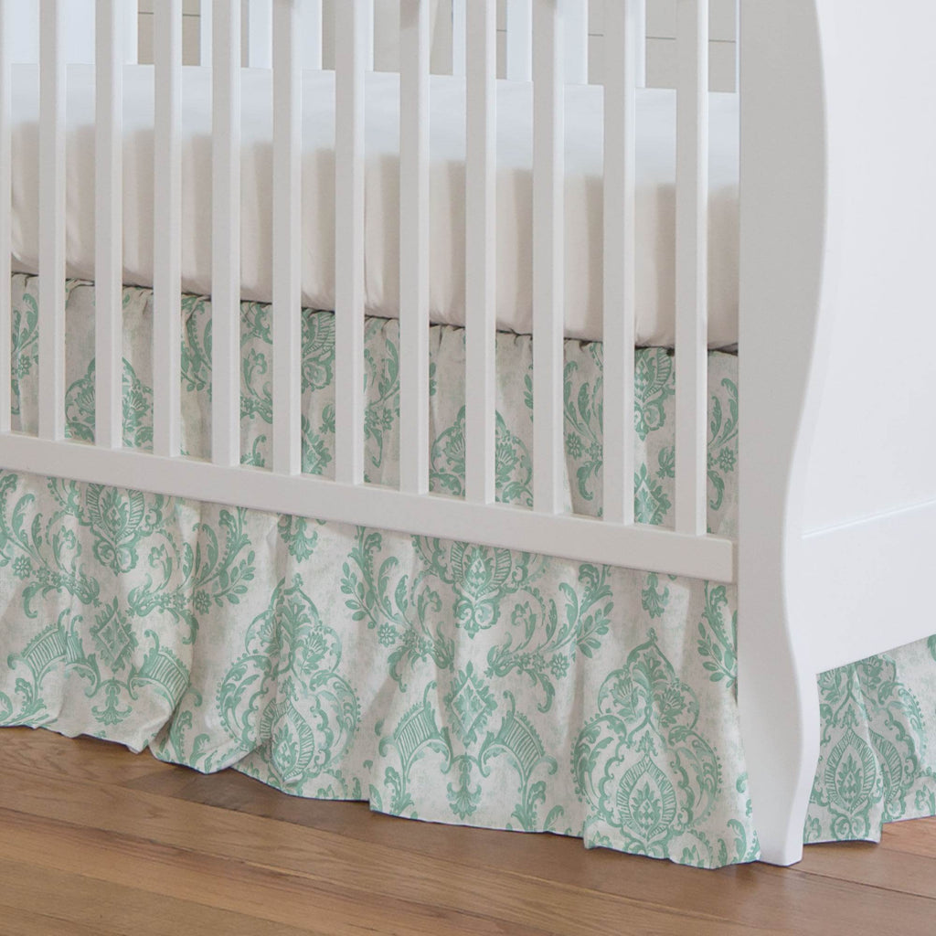 Product image for Mint Painted Damask Crib Skirt Gathered