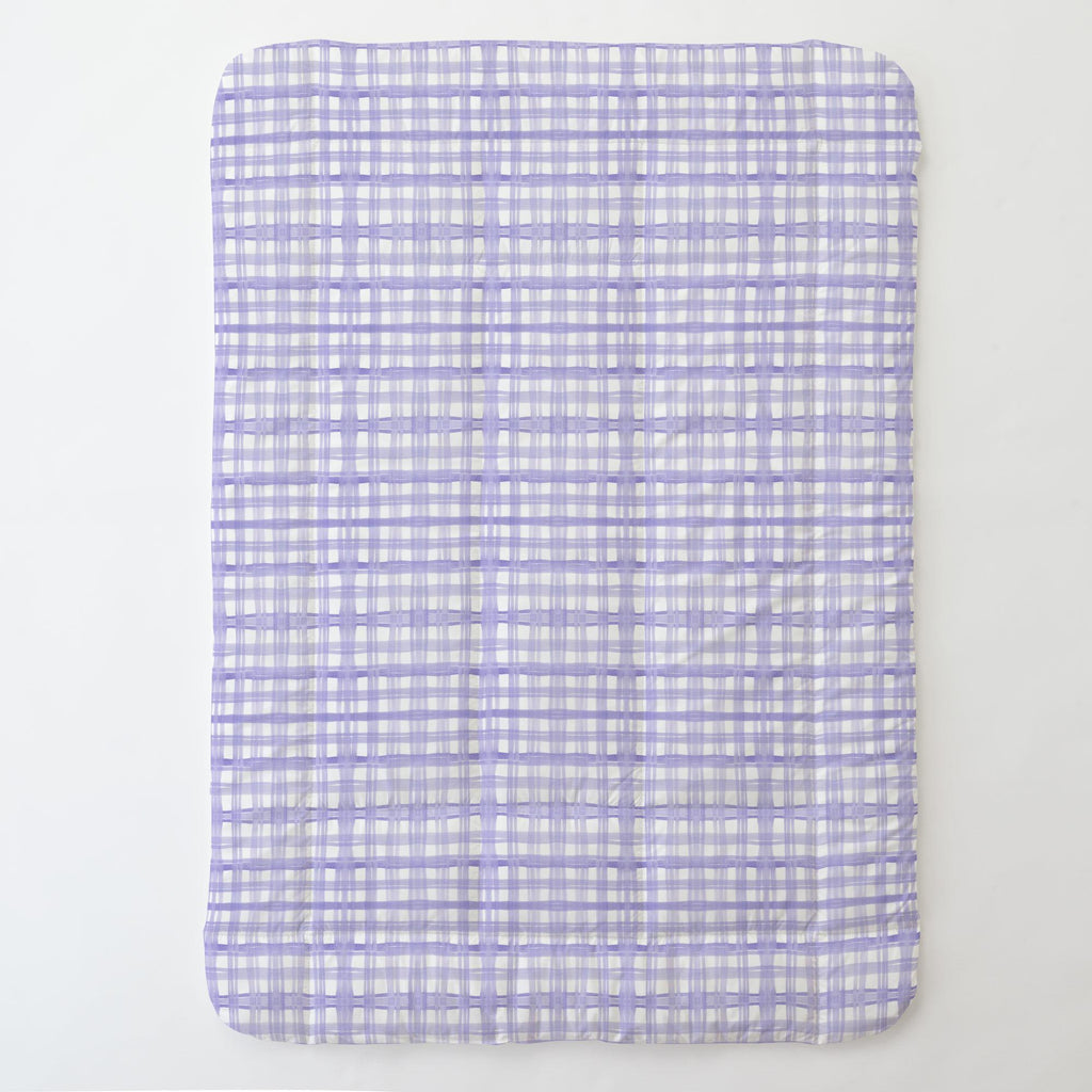 Product image for Lilac Watercolor Plaid Toddler Comforter