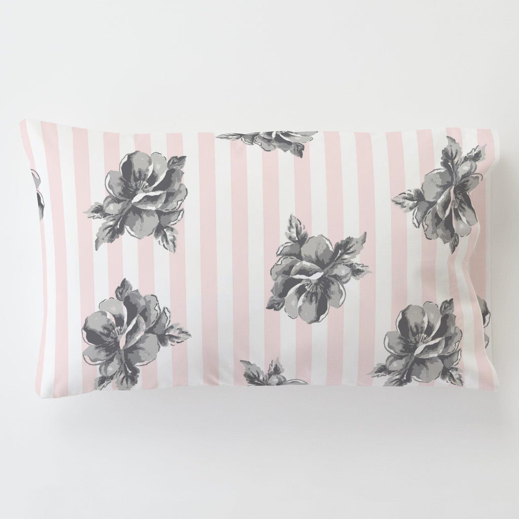 Product image for Pink and Gray Floral Stripe Toddler Pillow Case with Pillow Insert