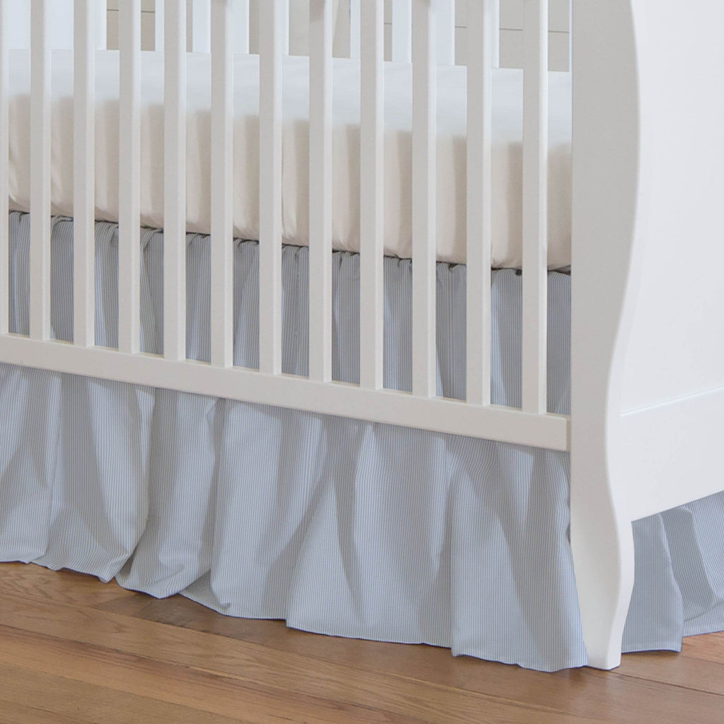 Product image for Blue Mini-Stripe Crib Skirt Gathered
