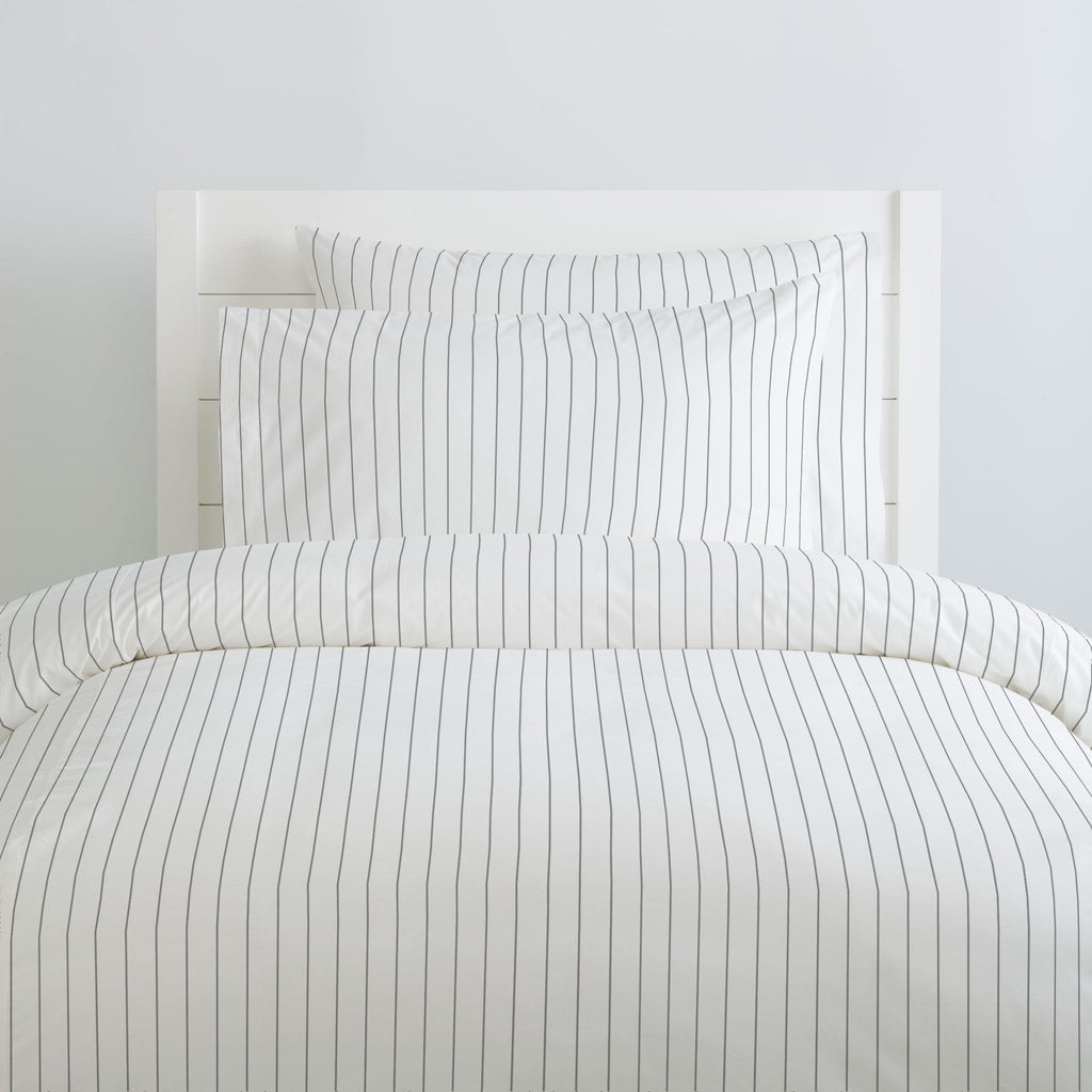 Product image for Cloud Gray Pinstripe Duvet Cover