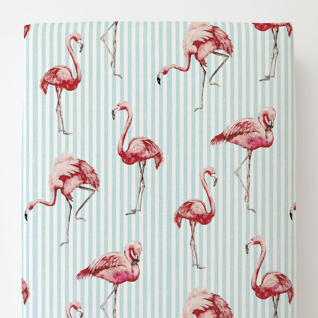 Product image for Flamingo Stripe Toddler Sheet Bottom Fitted