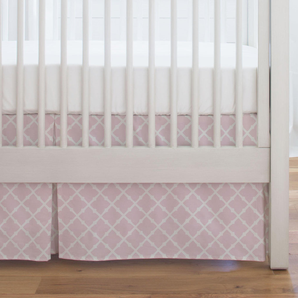 Product image for Pink Lattice Crib Skirt Single-Pleat
