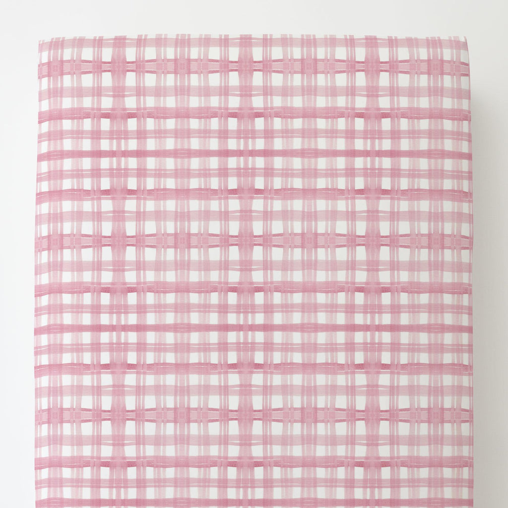 Product image for Pink Watercolor Plaid Toddler Sheet Bottom Fitted